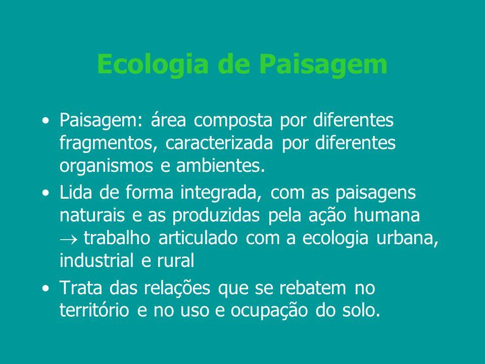 Ecologia de Paisagem Paisagem: área composta por diferentes fragmentos, caracterizada por diferentes organismos e ambientes. Lida de forma integrada,