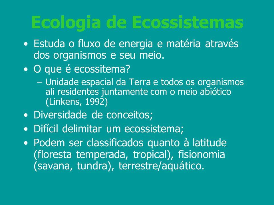 Ecologia de Ecossistemas Estuda o fluxo de energia e matéria através dos organismos e seu meio. O que é ecossitema? –Unidade espacial da Terra e todos