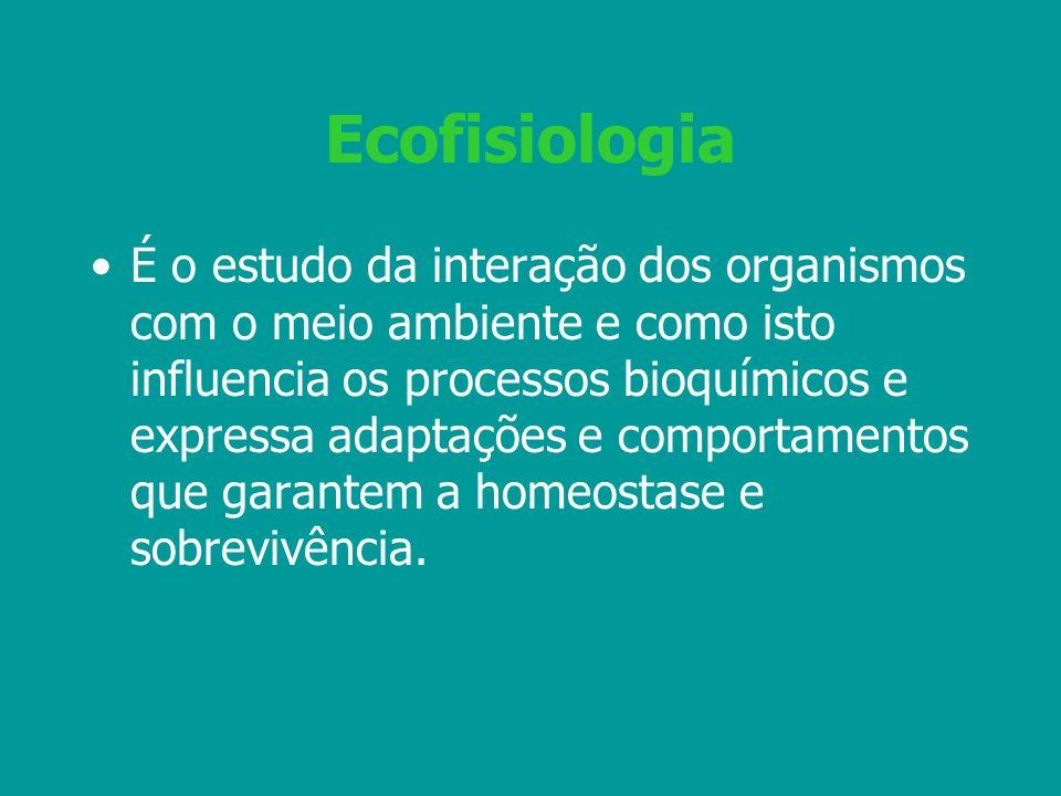 Ecofisiologia É o estudo da interação dos organismos com o meio ambiente e como isto influencia os processos bioquímicos e expressa adaptações e compo