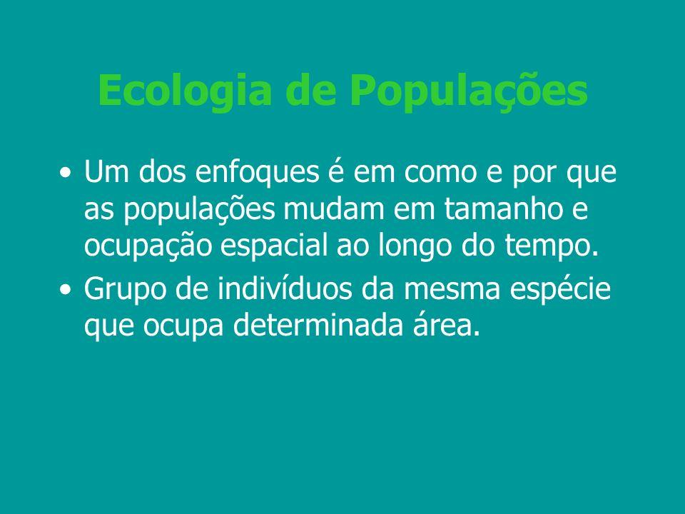 Ecologia de Populações Um dos enfoques é em como e por que as populações mudam em tamanho e ocupação espacial ao longo do tempo. Grupo de indivíduos d