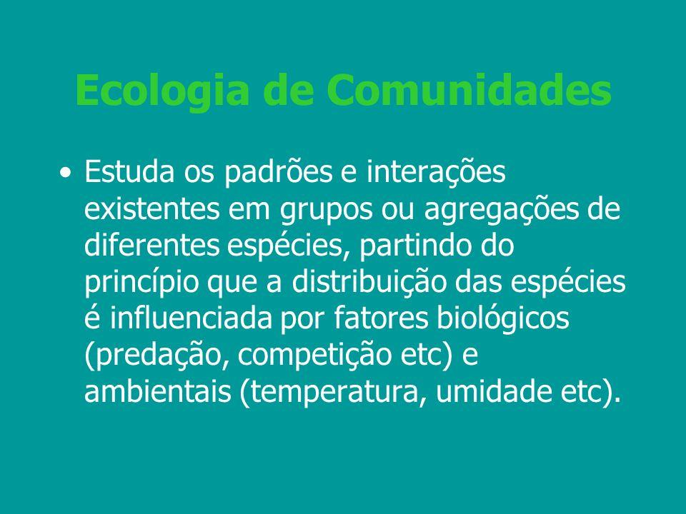 Ecologia de Comunidades Estuda os padrões e interações existentes em grupos ou agregações de diferentes espécies, partindo do princípio que a distribu