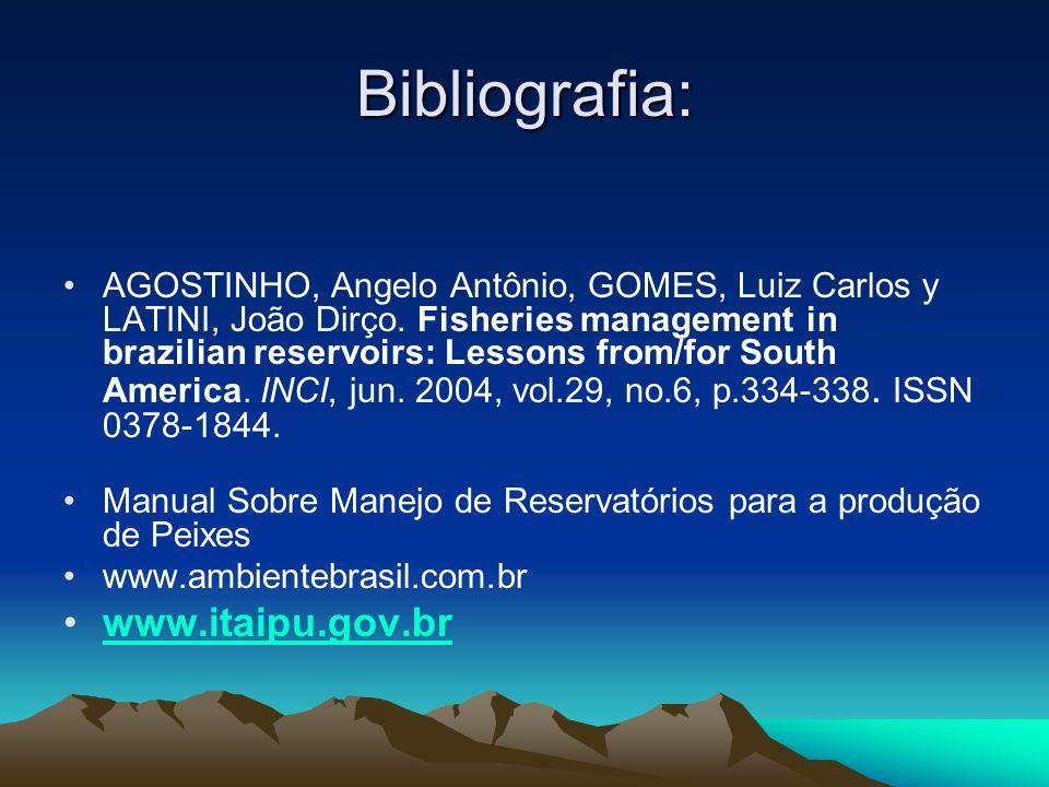 Bibliografia: AGOSTINHO, Angelo Antônio, GOMES, Luiz Carlos y LATINI, João Dirço. Fisheries management in brazilian reservoirs: Lessons from/for South