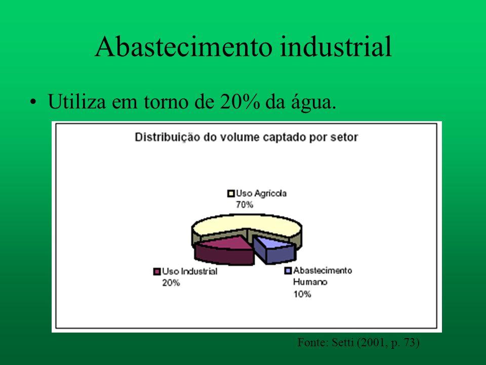 Abastecimento industrial Utiliza em torno de 20% da água. Fonte: Setti (2001, p. 73)