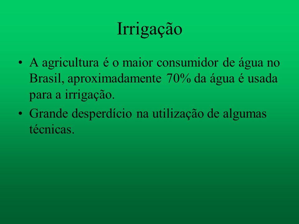 Irrigação A agricultura é o maior consumidor de água no Brasil, aproximadamente 70% da água é usada para a irrigação. Grande desperdício na utilização