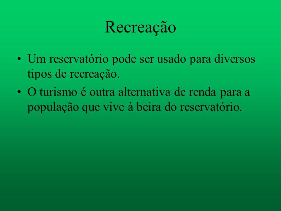 Recreação Um reservatório pode ser usado para diversos tipos de recreação. O turismo é outra alternativa de renda para a população que vive à beira do