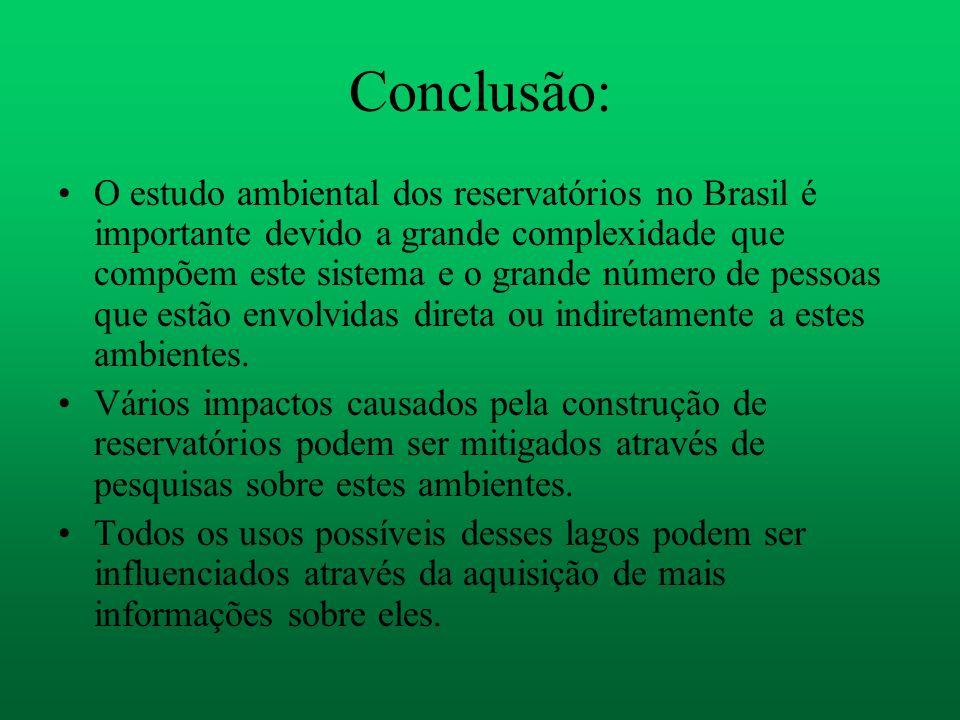 Conclusão: O estudo ambiental dos reservatórios no Brasil é importante devido a grande complexidade que compõem este sistema e o grande número de pess