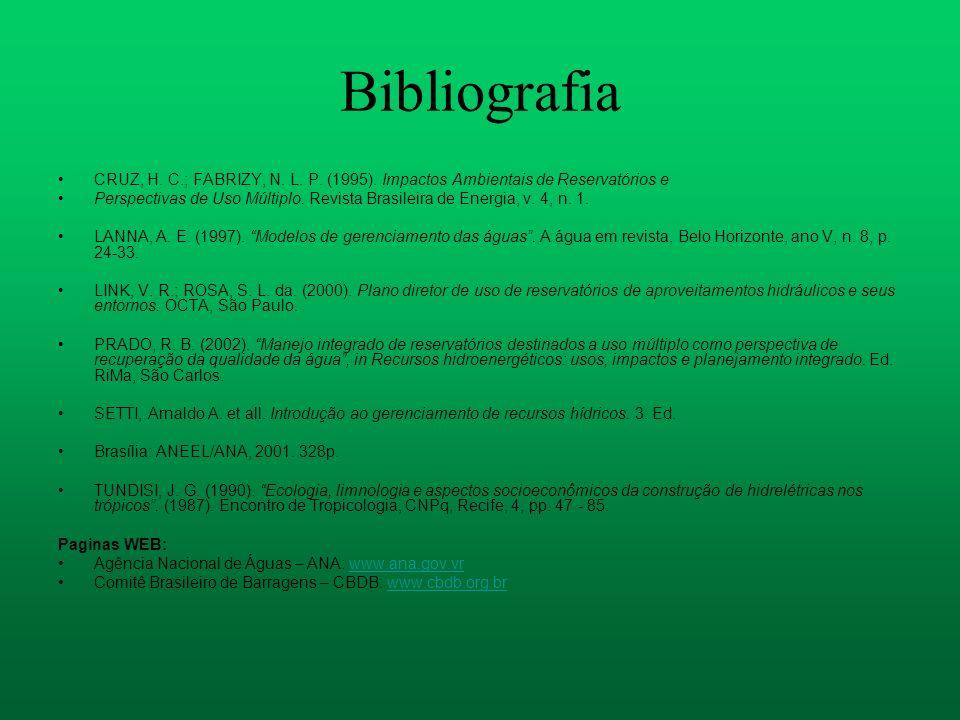 Bibliografia CRUZ, H. C.; FABRIZY, N. L. P. (1995). Impactos Ambientais de Reservatórios e Perspectivas de Uso Múltiplo. Revista Brasileira de Energia