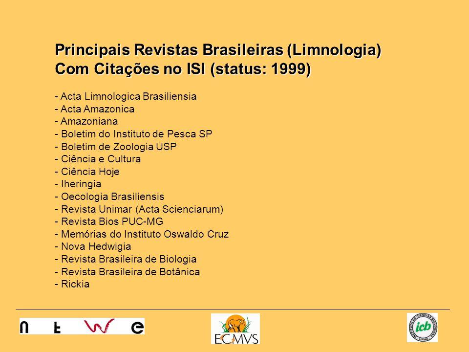 Principais Revistas Brasileiras (Limnologia) Com Citações no ISI (status: 1999) - Acta Limnologica Brasiliensia - Acta Amazonica - Amazoniana - Boleti