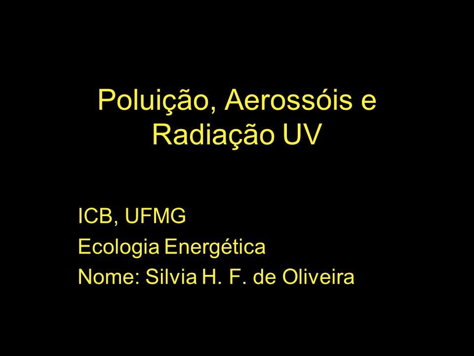 Poluição, Aerossóis e Radiação UV ICB, UFMG Ecologia Energética Nome: Silvia H. F. de Oliveira