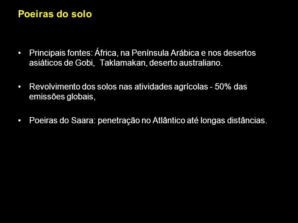 Poeiras do solo Principais fontes: África, na Península Arábica e nos desertos asiáticos de Gobi, Taklamakan, deserto australiano. Revolvimento dos so