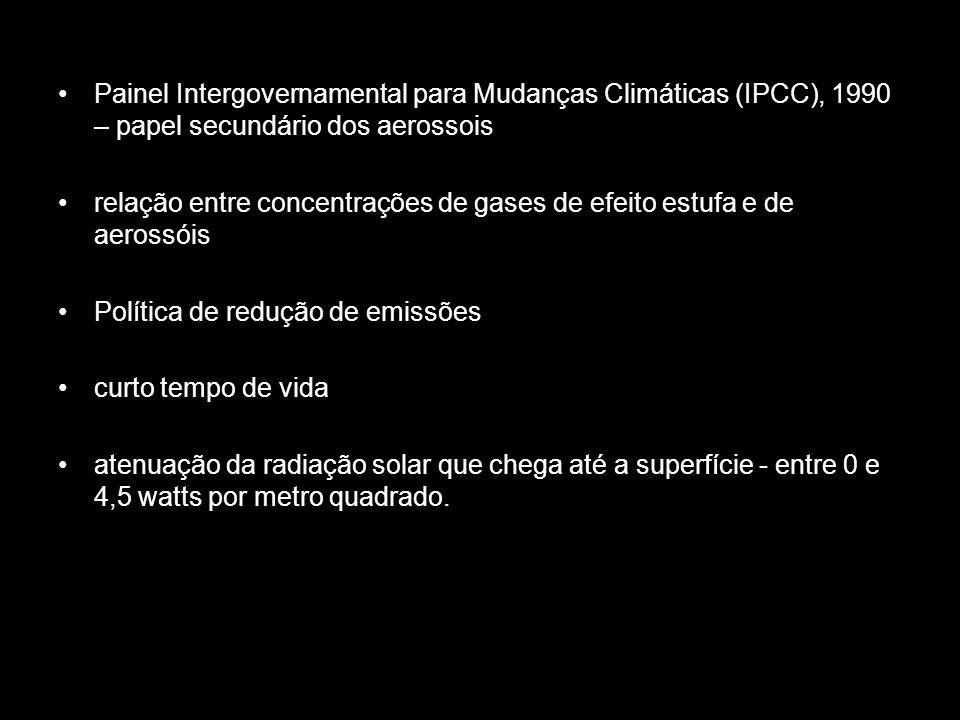 Painel Intergovernamental para Mudanças Climáticas (IPCC), 1990 – papel secundário dos aerossois relação entre concentrações de gases de efeito estufa