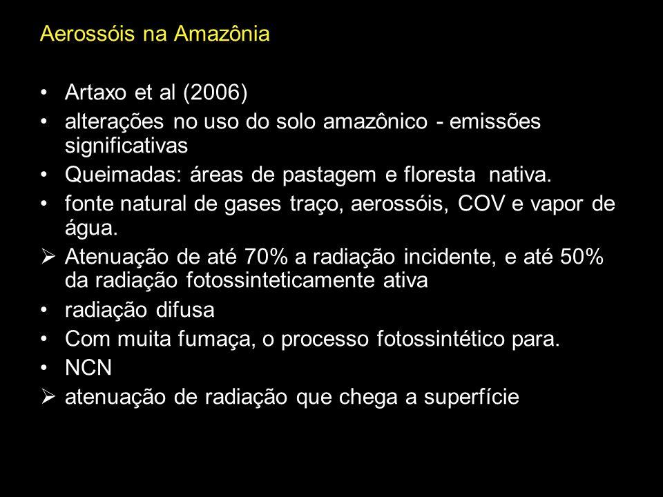 Aerossóis na Amazônia Artaxo et al (2006) alterações no uso do solo amazônico - emissões significativas Queimadas: áreas de pastagem e floresta nativa