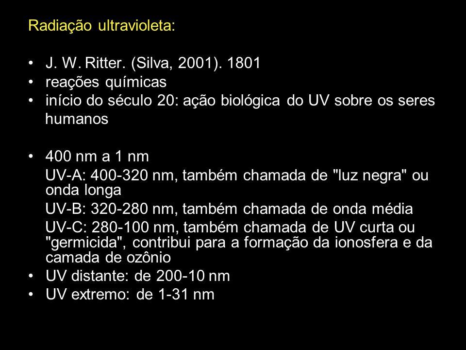 Radiação ultravioleta: J. W. Ritter. (Silva, 2001). 1801 reações químicas início do século 20: ação biológica do UV sobre os seres humanos 400 nm a 1