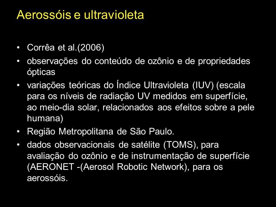 Aerossóis e ultravioleta Corrêa et al.(2006) observações do conteúdo de ozônio e de propriedades ópticas variações teóricas do Índice Ultravioleta (IU