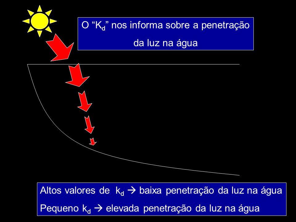 O K d nos informa sobre a penetração da luz na água Altos valores de k d baixa penetração da luz na água Pequeno k d elevada penetração da luz na água