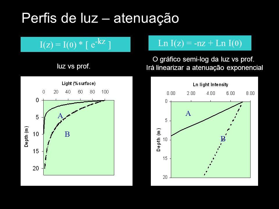 O gráfico semi-log da luz vs prof.
