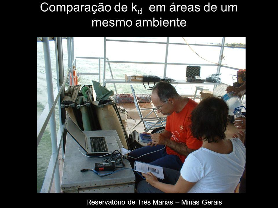Comparação de k d em áreas de um mesmo ambiente Reservatório de Três Marias – Minas Gerais