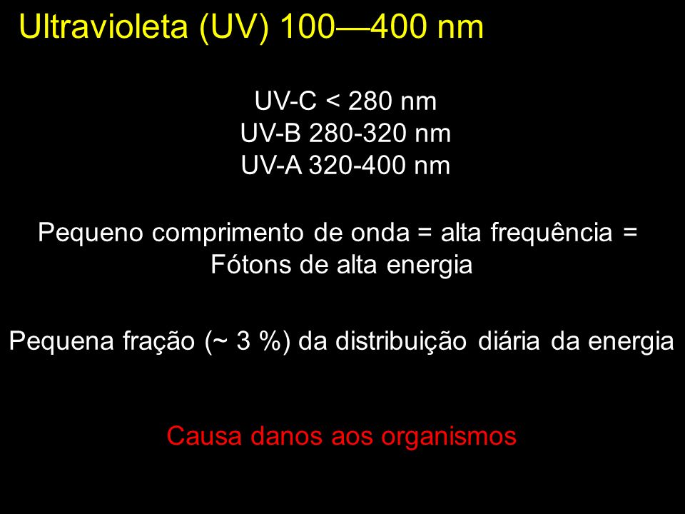Ultravioleta (UV) 100400 nm UV-C < 280 nm UV-B 280-320 nm UV-A 320-400 nm Causa danos aos organismos Pequeno comprimento de onda = alta frequência = F