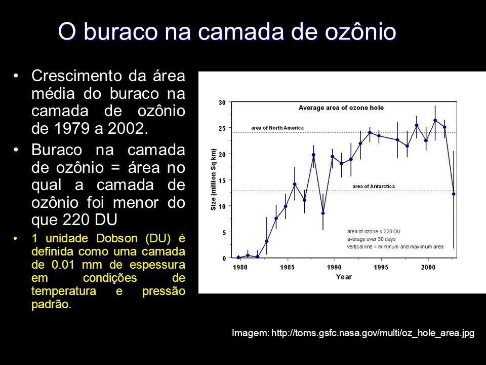 Imagem: http://toms.gsfc.nasa.gov/multi/oz_hole_area.jpg Crescimento da área média do buraco na camada de ozônio de 1979 a 2002.