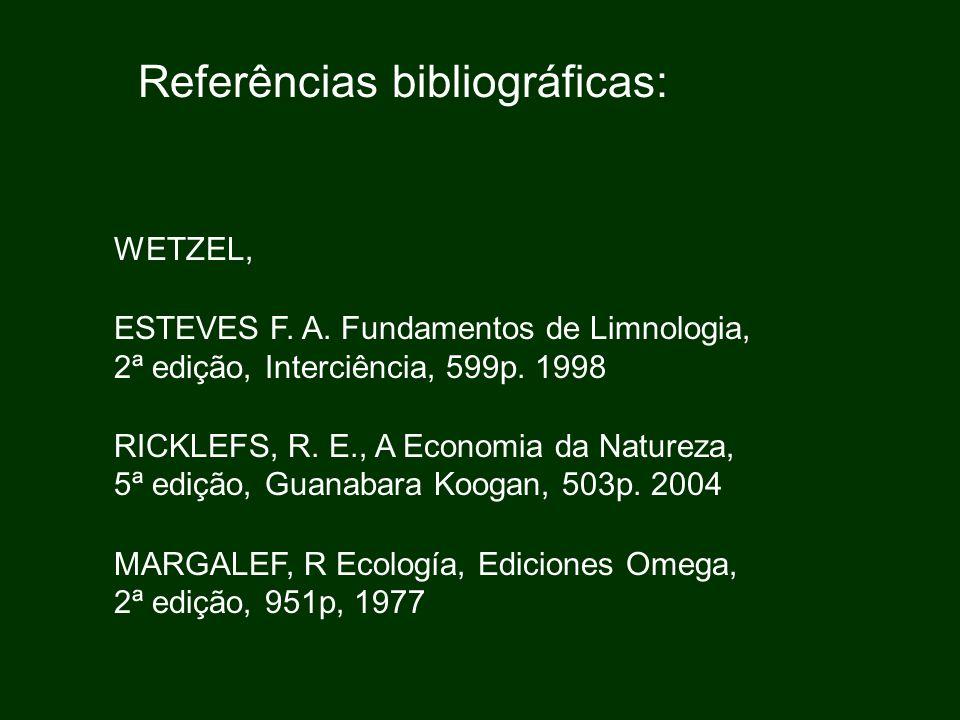 Referências bibliográficas: WETZEL, ESTEVES F. A. Fundamentos de Limnologia, 2ª edição, Interciência, 599p. 1998 RICKLEFS, R. E., A Economia da Nature