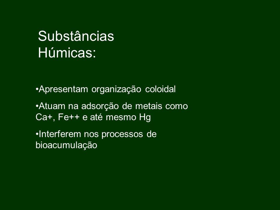 Substâncias Húmicas: Apresentam organização coloidal Atuam na adsorção de metais como Ca+, Fe++ e até mesmo Hg Interferem nos processos de bioacumulaç
