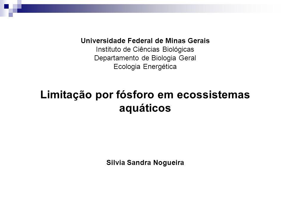 Universidade Federal de Minas Gerais Instituto de Ciências Biológicas Departamento de Biologia Geral Ecologia Energética Limitação por fósforo em ecos