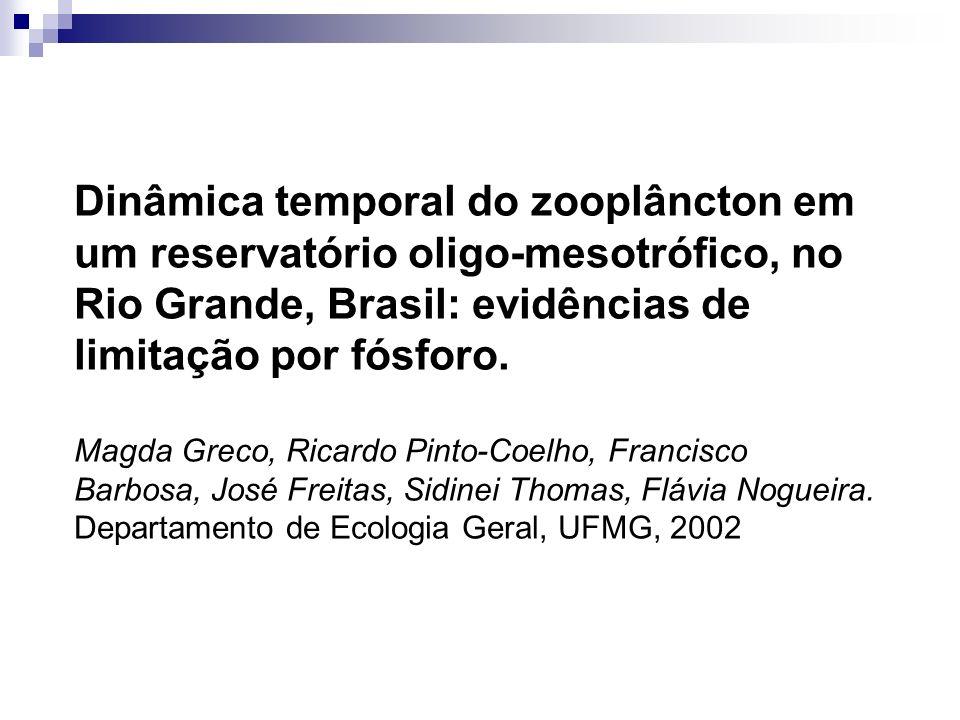 Dinâmica temporal do zooplâncton em um reservatório oligo-mesotrófico, no Rio Grande, Brasil: evidências de limitação por fósforo. Magda Greco, Ricard