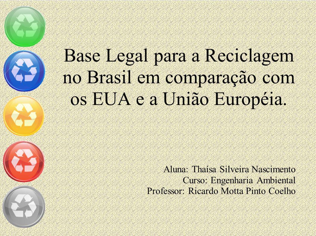 Base Legal para a Reciclagem no Brasil em comparação com os EUA e a União Européia. Aluna: Thaísa Silveira Nascimento Curso: Engenharia Ambiental Prof