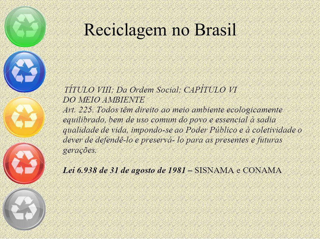 Reciclagem no Brasil TÍTULO VIII; Da Ordem Social; CAPÍTULO VI DO MEIO AMBIENTE Art. 225. Todos têm direito ao meio ambiente ecologicamente equilibrad