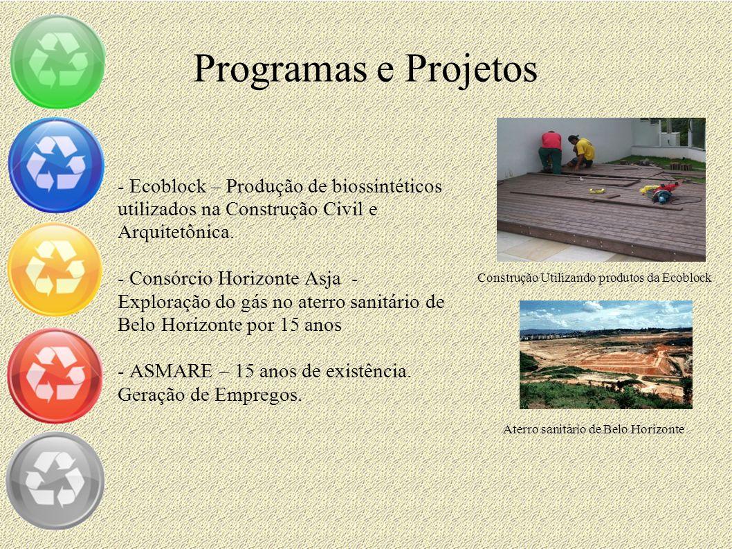 Programas e Projetos - Ecoblock – Produção de biossintéticos utilizados na Construção Civil e Arquitetônica. - Consórcio Horizonte Asja - Exploração d