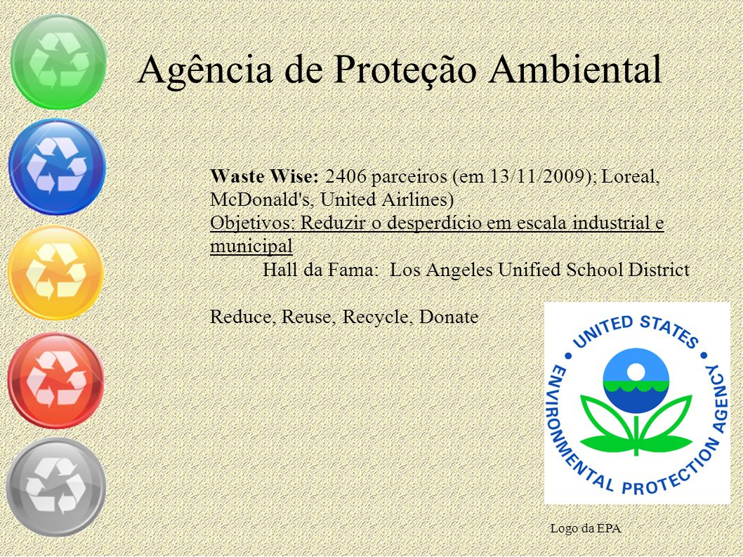 Agência de Proteção Ambiental Waste Wise: 2406 parceiros (em 13/11/2009); Loreal, McDonald's, United Airlines) Objetivos: Reduzir o desperdício em esc