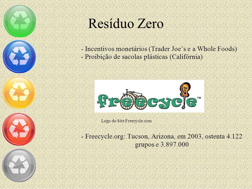 Resíduo Zero - Incentivos monetários (Trader Joes e a Whole Foods) - Proibição de sacolas plásticas (Califórnia) - Freecycle.org: Tucson, Arizona, em