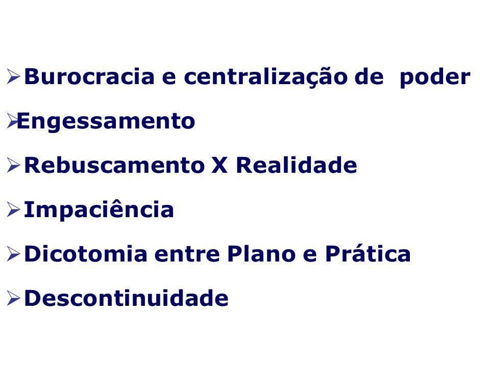 Burocracia e centralização de poder Engessamento Rebuscamento X Realidade Impaciência Dicotomia entre Plano e Prática Descontinuidade
