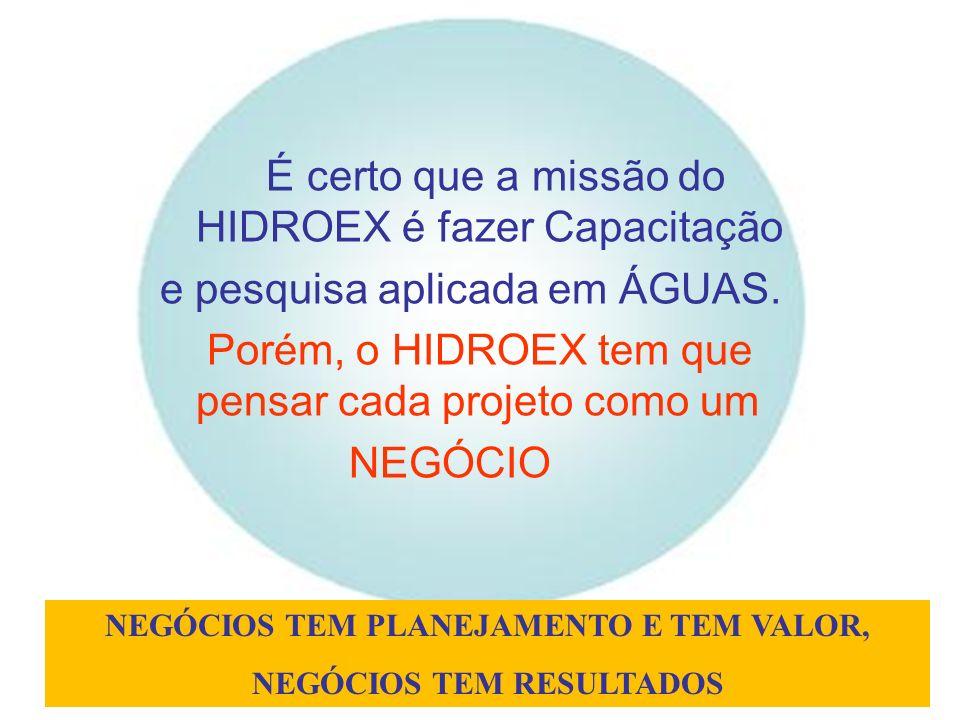É certo que a missão do HIDROEX é fazer Capacitação e pesquisa aplicada em ÁGUAS. Porém, o HIDROEX tem que pensar cada projeto como um NEGÓCIO NEGÓCIO