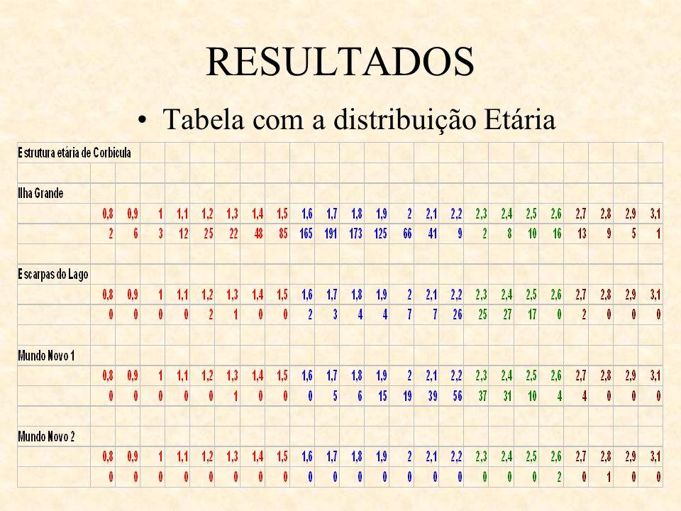 RESULTADOS Tabela com a distribuição Etária