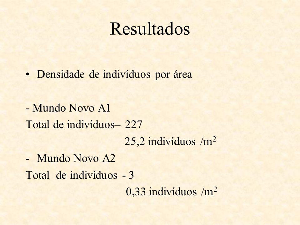 Resultados Densidade de indivíduos por área - Mundo Novo A1 Total de indivíduos– 227 25,2 indivíduos /m 2 -Mundo Novo A2 Total de indivíduos - 3 0,33
