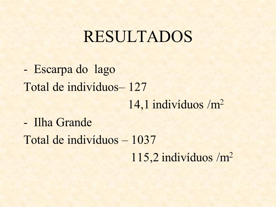 RESULTADOS -Escarpa do lago Total de indivíduos– 127 14,1 indivíduos /m 2 -Ilha Grande Total de indivíduos – 1037 115,2 indivíduos /m 2