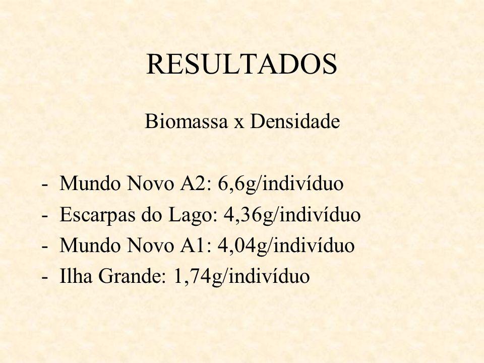 RESULTADOS Biomassa x Densidade -Mundo Novo A2: 6,6g/indivíduo -Escarpas do Lago: 4,36g/indivíduo -Mundo Novo A1: 4,04g/indivíduo -Ilha Grande: 1,74g/