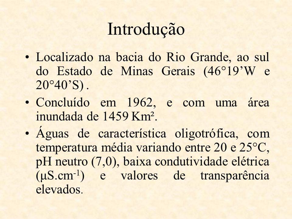 Localizado na bacia do Rio Grande, ao sul do Estado de Minas Gerais (46°19W e 20°40S). Concluído em 1962, e com uma área inundada de 1459 Km². Águas d