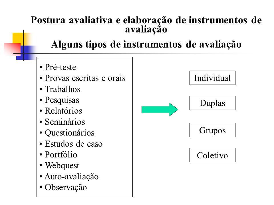 Postura avaliativa e elaboração de instrumentos de avaliação Alguns tipos de instrumentos de avaliação Pré-teste Provas escritas e orais Trabalhos Pes