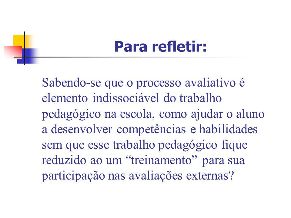 Para refletir: Sabendo-se que o processo avaliativo é elemento indissociável do trabalho pedagógico na escola, como ajudar o aluno a desenvolver compe