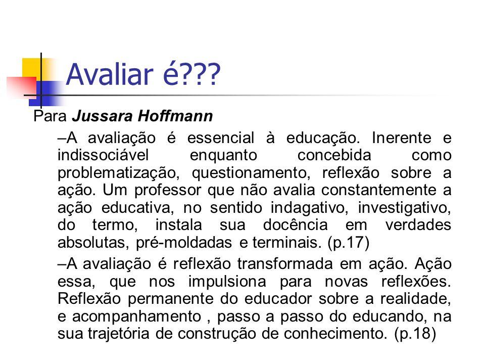 Avaliar é??? Para Jussara Hoffmann –A avaliação é essencial à educação. Inerente e indissociável enquanto concebida como problematização, questionamen