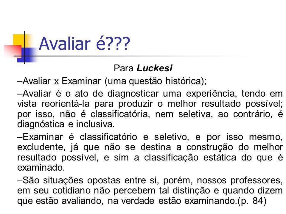 Avaliar é??? Para Luckesi –Avaliar x Examinar (uma questão histórica); –Avaliar é o ato de diagnosticar uma experiência, tendo em vista reorientá-la p