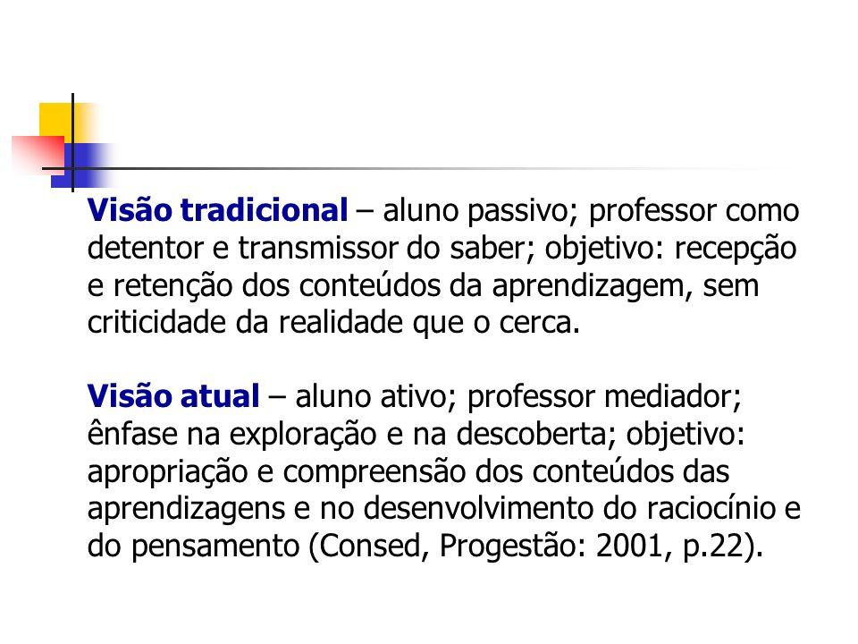 Visão tradicional – aluno passivo; professor como detentor e transmissor do saber; objetivo: recepção e retenção dos conteúdos da aprendizagem, sem cr