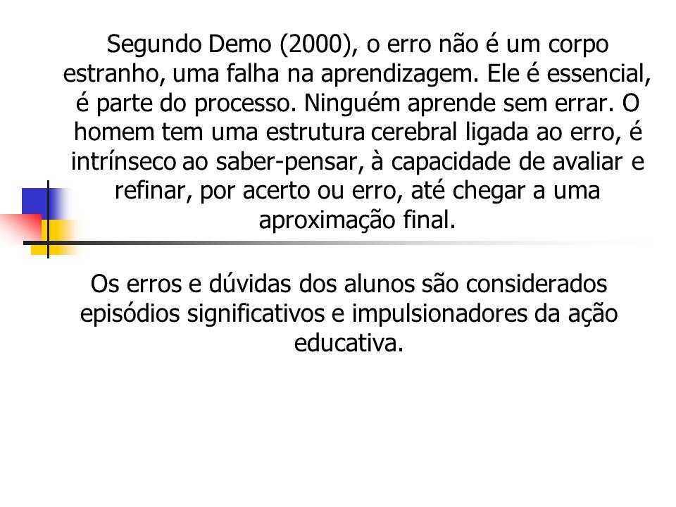 Segundo Demo (2000), o erro não é um corpo estranho, uma falha na aprendizagem. Ele é essencial, é parte do processo. Ninguém aprende sem errar. O hom