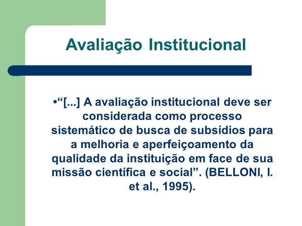 Avaliação Institucional [...] A avaliação institucional deve ser considerada como processo sistemático de busca de subsídios para a melhoria e aperfei