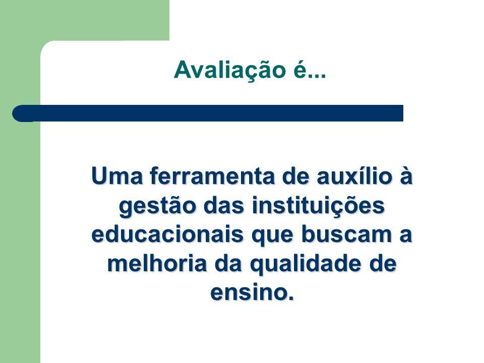 Avaliação é... Uma ferramenta de auxílio à gestão das instituições educacionais que buscam a melhoria da qualidade de ensino.