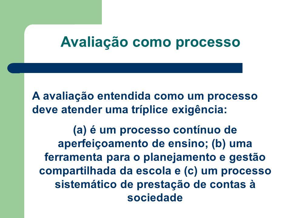 Avaliação como processo A avaliação entendida como um processo deve atender uma tríplice exigência: (a) é um processo contínuo de aperfeiçoamento de e