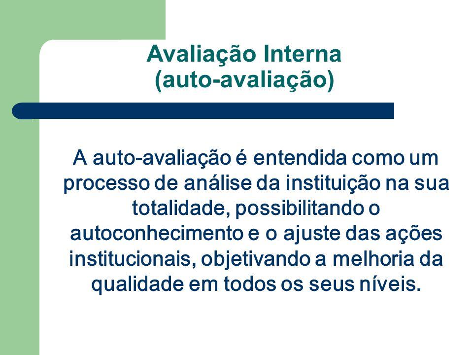 Avaliação Interna (auto-avaliação) A auto-avaliação é entendida como um processo de análise da instituição na sua totalidade, possibilitando o autocon