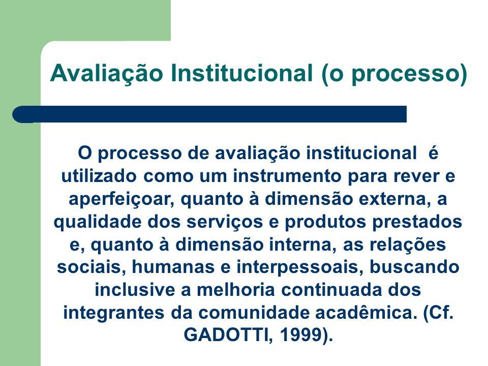 Avaliação Institucional (o processo) O processo de avaliação institucional é utilizado como um instrumento para rever e aperfeiçoar, quanto à dimensão